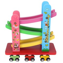 Wholesale Wooden Cars For Kids - Wooden Ramp Race Ladder Gliding Car Toys For Kids Children Gear Toys new brand good quality hot sale