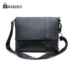 Wholesale 13 Inch Leather Messenger Bag - Wholesale- Baigio Men Bag Black Leather Men Briefcase 2017 Fashion 13 inch Laptop Cases Best Designer Men's Messenger Bags Crossbody Bag