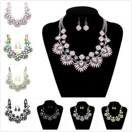 Wholesale Colorful Beaded Earrings - Colorful Glass Crystal Flower Beaded Festoon Lavalier Bib Necklace Earrings Set