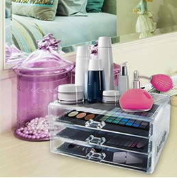 Wholesale Cosmetic Drawers - Acrylic Jewelry Organizer, Arranges Makeup and Accessories, 3 Drawers Cosmetic Storage Display Box, By AcryliCase