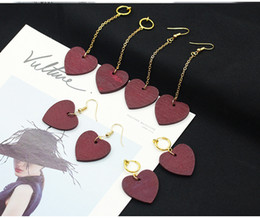 Wholesale Korean Wooden Clip - New Korean wooden Heart with lovers dangling earrings women wood Wine red Hearts clip on earrings For ladies Fashion sexy Jewelry