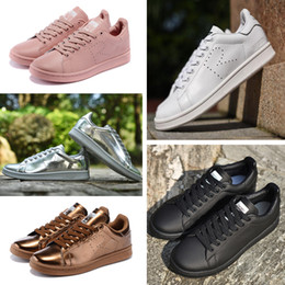 Wholesale black round toe flats - 2016 Raf Simons Stan Smith Spring Copper White Pink Black Fashion Shoe Man Casual Leather brand woman man shoes Flats Sneakers