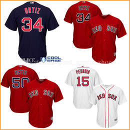 Wholesale Hot Sox Sale - men's Boston Red Sox baseball jerseys 34 David Ortiz stitched 15 Dustin Pedroia 50 Mookie Betts Majestic Cool Base Player Jersey hot sale