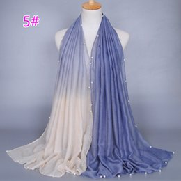 Wholesale Muslim Material - Wholesale- High fashion pearl scarf gradient women 's scarf Muslim shawl 180 * 90 cm cotton material scarf