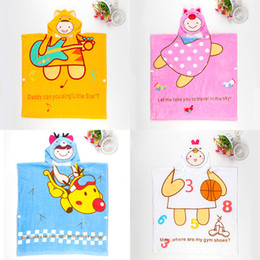 Wholesale Hooded Baby Bath Towels Wholesale - 60* 120cm Pure cotton Bath robe for children Cartoon pattern Hooded Bath towel Comfort and health