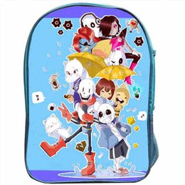 Wholesale layer school bags - Wholesale- Undertale Backpack Blue School Bags Double Layer Sans for Boy and Girl Children Bags Men Women Custom Made