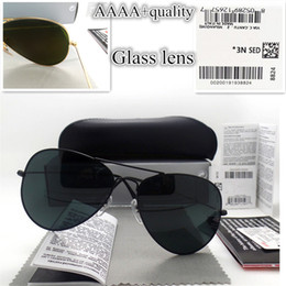 Wholesale vintage stickers - AAAA+ quality Glass lens Men Women Pilot Fashion Sunglasses UV Protection Brand Designer Vintage Sport Sun glasses With box and sticker