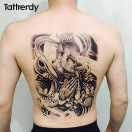 Wholesale Tattoo Chest - attoo sticker 48*34 cm large tattoo stickers 2017 new designs fish wolf buddha waterproof temporary flash tattoos full back chest body fo...