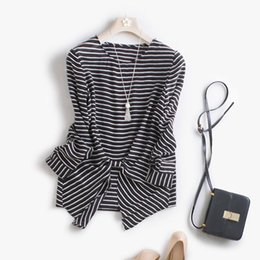 Wholesale Ladies Round Collar Blouses - European American Stylish Women's Fashion Straight Round Collar Long Sleeve Striped Irregular Chiffon Shirt 2017 Ladies Blouses A14