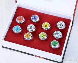 Wholesale Naruto Akatsuki Figures - 10pcs Set Naruto Anime figures Akatsuki Members Cosplay Rings with gift box