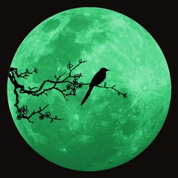 Wholesale Painting Small Rooms - moonlight love painting Romantic moon Fluorescent Glow moon in the dark plastic moon with Adhesive Wall stickers