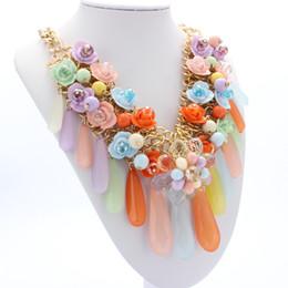 Wholesale Colorful Rhinestone Statement Necklaces - Hot Sale 2017 Choker Necklace for Women Colorful Big Flower chokers necklaces statement necklace crystal choker rhinestone