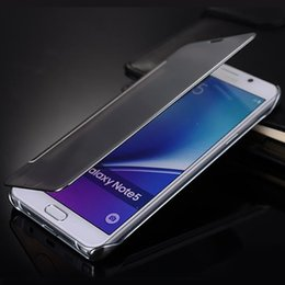 Wholesale transparent flip case - Fashion Clear View Window Smart Cover Mirror Screen Flip PC Electroplate Cover for Iphone 6 6s plus 7 7plus Samsung S7 S7 edge s8 s8 plus