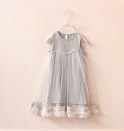 Wholesale Baby Floral Tulle Dress - Everweekend Girls Fringe Tulle Summer Cotton Dress Sweet Baby Gray and White Color Cute Dress Fashion Dresses