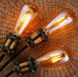Wholesale Energy Saving Lamp Led Candle - 2017 New Vintage led edison filament bulb golden st64 e27 led dimmable light 110v 220v energy saving lamp replace incandescent bulb lampa