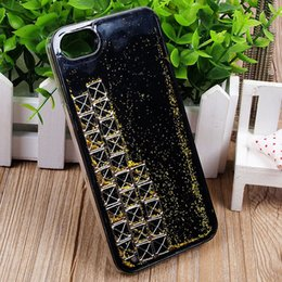 Wholesale Powder Game - Tetris Bricks Game Dynamic Gold Powder Bling Glitter Quicksand Clear Hard TPU PC Back Cover Cell Phone Case Shell Protector for iPhone 7