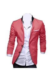 Wholesale Men Wholesale Fitted Coat - Wholesale- Men's Slim Fit Jacket Blazer Coat Shirt XX-Large Watermelon Red
