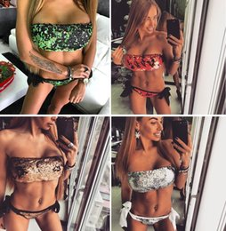 Wholesale Sequined Red Bra - 2017 hot sale Sequined Strapless Bikini Suits Sexy Push Up Beach Bathing Suit Women's Swimsuit