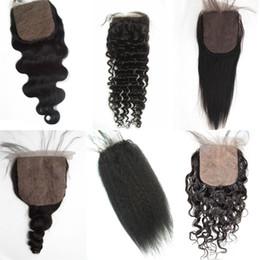 Wholesale Cheap Silk Based Closures - Mongolian Virgin Hair Straight Silk Base Closure Hidden Knots Brazilian Peruvian Human Hair Free Part Cheap Silk Closure FDSHINE HAIR