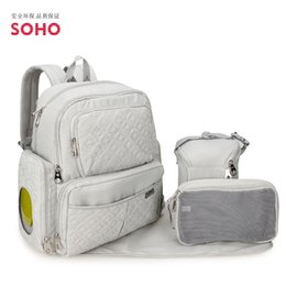 Wholesale Diaper Bag Pieces - Wholesale- 2017 New Nappy backpack Europe shoulder mummy bag Multi Pocket large mom bag five piece baby diaper bag maternity supplies