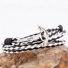 Wholesale Sailor Bracelets Wholesale - Wholesale- Hope is on The Head of Anchor Vintage Leather Bracelet PU Sailors Style Fishing Bracelet Men Jewelry pulseras mujer SL065