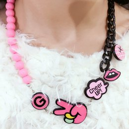 """Wholesale Cheer Necklaces - Kawaii Kids Imitation Pearl Bead Choker """"Cheer Up"""" Pendent Necklace for Girl Kids Gift Choker Jewelry Accessory Wholesale"""