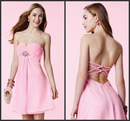 Wholesale Cheap Little Girls Bridesmaid Dresses - Cheap Bridesmaid Dress Short mIni Party Wear Eleagnt Pink Gown Crystals Sparked Sweet 16 Girls Fashion Backless Sexy Cocktail Design 2017