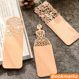 Wholesale Hollow Books - wholesale 48 pcs Lot Wooded bookmark Hollow carved book markers for books marcador de pagina marcapaginas Office school supplies 6558