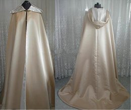 Wholesale Capes For Winter - Vintage Design Superior Quality Champagne Satin Hooded Long Length Cloak for Wedding Bride Winter Cape