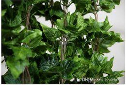 Wholesale Grapes Vines Wholesale - Wholesale 20PCS like real artificial Silk grape leaf garland faux vine Ivy home decor wedding flower green
