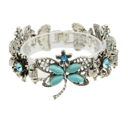 Wholesale Butterfly Alloy Charms - Bohemian Boho Chic Style Blue Rhinestone Butterfly Antique Silver Color Bracelet For Women