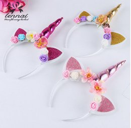 Wholesale White Flower Headbands - Glitter cat ear hair bands kids unicorn horn cospaly hair accessory children colorful stereo rose flowers princess headbands girl gift T0078