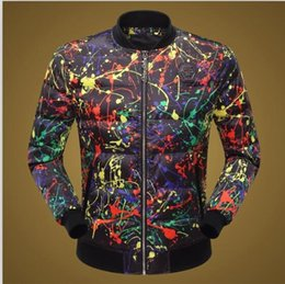 Wholesale Coat Paint Black - Free Shipping 2017 New Arrival Fashion Winter Coat Paint Skull Printed Slim Famous Design High Quality Mens Casual Coat Hot Sale