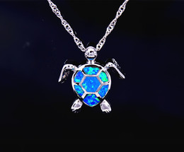 Wholesale opal gifts for women - Wholesale & Retail Fashion Jewelry Fine Blue Fire Opal Sea Turtle Stone Sliver Pendants For Women PJ17082712