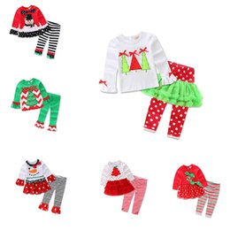 Wholesale girls reindeer outfit - 2017 new Christmas long sleeve baby girls Xmas Outfits Children Christmas 2pcs sets clothes white sanda reindeer tree dress striped ruffle p