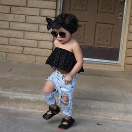 Wholesale Girls Jeans Vest - 2017 Summer New Girl Sets Dots Black Vest+Hole Jeans+Headband 3pcs Fashion Outfits Children Clothing 1-5Y 1783