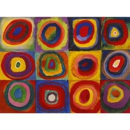 modernen abstrakten kunstmalereien kreise Rabatt Kunst Ölgemälde von Wassily Kandinsky Quadrate mit konzentrischen Kreisen moderne Kunst abstrakte handgemachte hohe Qualität
