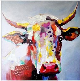Wholesale Color Life Paint - Framed Color Cow,Pure Hand Painted Abstract Modern Wall Decor Cartoon Animal Art Oil Painting High Quality Canvas.Multi sizes C060