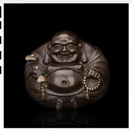 Wholesale Miniature Bronzes - Brass Crafted Human Vintage Chinese bronze happy buddha statue Miniature sculpture Small round laughing buddha statues bless you