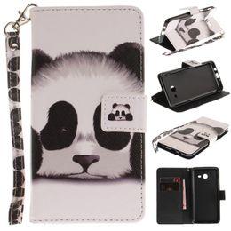 Wholesale Iphone Black Panda - Panda Owl Mandala Flower Phone Bags Card Slots With Lanyard Painted Wallet Flip Leather Case For Samsung S8 Plus A5 J3 2017 iphone 8 7 Plus
