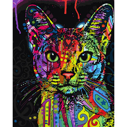 Wholesale Cat Hand Oil Painting - Frameless Abstract Colorful Cat Animals DIY Painting By Numbers Hand Painted Oil Painting For Wall Art Picture Home Decoration