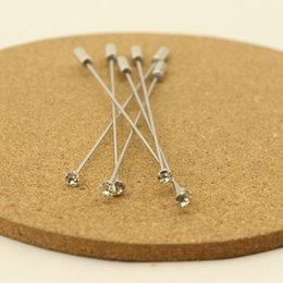 Wholesale Safety Pins Rhinestones - Wholesale- 10pcs lot 9.6cm Length Crystal Rhinestone CZ Head Brooches Pins With Stopper Safety Pins Settings Jewelry Making F1774