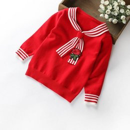 Wholesale Cashmere Baby Sweater - Rose Embroidery necktie cashmere sweater for baby girls children's Pullover sweaters fashion winter autumn warm tops boutiques best quality