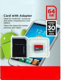 Wholesale Free Memory Android - 64GB 32GB 16GB Android Robot Free shipping high speed Class 10 64GB 32GB 16GB C10 Micro SD TF Memory Card with Adapter Retail Package