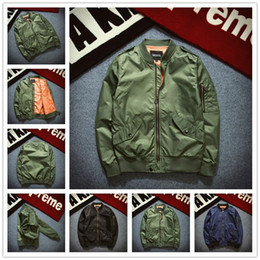 Giacca militare verde stile militare online-ASSTSERIES 2017 lala ikai Jacket Ma1 Style Army Green Military Motorcycle Ma1 Flight Bomber Jacket Pilot Air Force 6xl Jacket