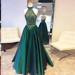 Wholesale Modern Goddess - Goddess High Neck Dark Green Prom Dresses Lace Top And Satin Lower A-Line Long Evening Gowns Zipper Backless Ruffle Formal Party Dress