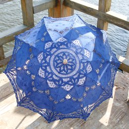 Wholesale Wedding Accessories Wholesale Lace Umbrella - Blue Bridal Accessories Wedding Lace Parasol White Lace Umbrella Victorian Lady Costume Accessory Bridal Party Decoration Cosplay Prop