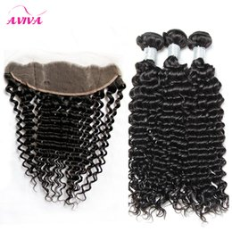 Wholesale Deep Curl Peruvian Hair - Brazilian Curly Virgin Hair Weaves 3 Bundles With Lace Frontal Closures Peruvian Indian Malaysian Cambodian Deep Curl Jerry Curly Human Hair