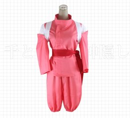 Wholesale Super Man Costumes For Girls - Super Hot Anime Movie Spirited Away Chihiro Cosplay Costumes Girls Cute Pink Kimono Japenese Style Ladies Hot Costumes for Sale