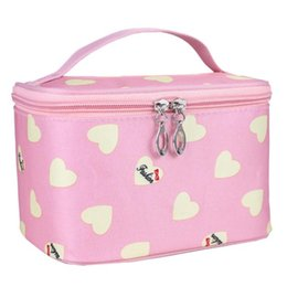 Wholesale Makeup Organiser Box - Naivety 2017 Makeup Cosmetic Bag Love Heart Pattern Case Grain Of Pure Color Square Storage Box Make Up Organiser Container
